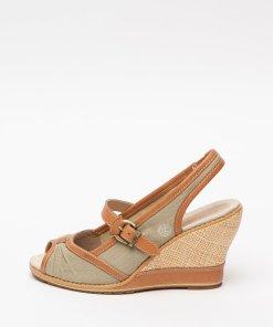Sandale cu talpa wedge si insertii din piele Mae 2752136