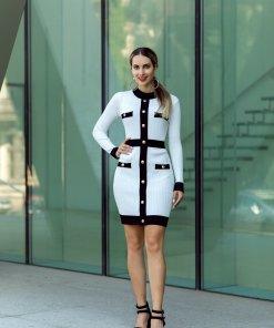 Rochie Elly alba tricotata
