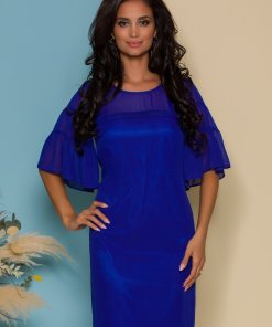Rochie FanyLux albastra lejera cu maneci din voal
