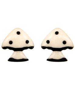 Cercei Argint 925 pentru copii, Fairy Tale Black & White Mushroom