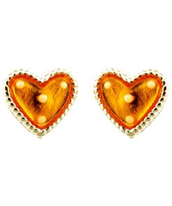 Cercei Argint 925 pentru copii, Heart & Dots - Yellow