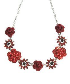 Colier cu flori rosii