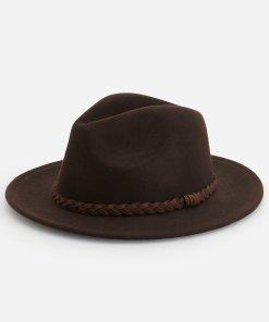 Reserved - Pălărie din lână, cu panglică decorativă - Maro