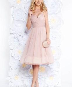 Rochie Ana Radu roz deschis de lux in clos din tul captusita pe interior cu bust buretat