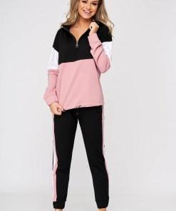 Trening dama SunShine roz din 2 piese cu pantaloni din bumbac cu talie medie