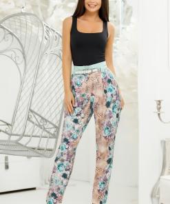 Pantaloni Patrizia Flower cu imprimeu turcoaz