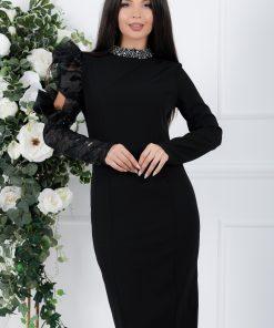 Rochie Pandora neagra cu o maneca din paiete decorata cu volan din organza