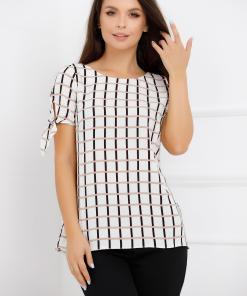 Bluza Carolina alba cu imprimeu geometric negru si roz