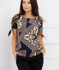 Bluza Carolina bleumarin cu imprimeu divers crem
