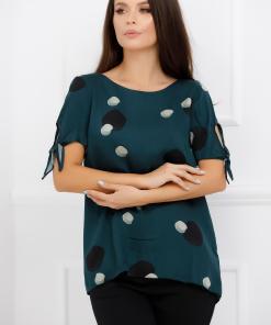 Bluza Carolina verde inchis cu imprimeu negru si crem