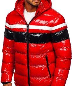 Geacă de iarnă bărbați roșie matlasată Bolf 6463