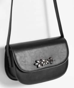 Geantă pentru umăr cu cristale Negru