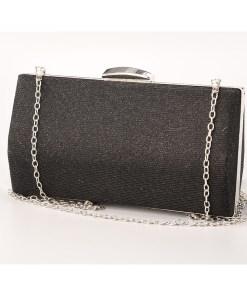 Geanta clutch neagra cu rama metalica - cod 39413