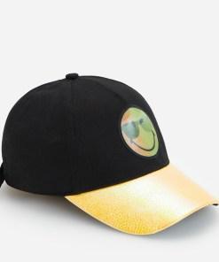 Reserved - Șapcă Smiley cu cozoroc holografic - Negru