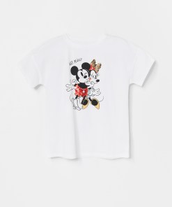 Reserved - Tricou Mickey Mouse, din bumbac - Ivory