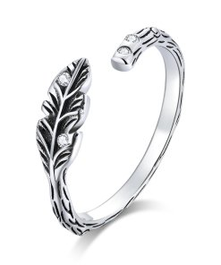 Inel din argint Sparkling Vintage Leaf
