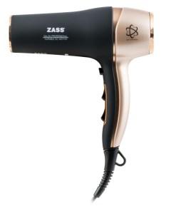 Uscator de par Zass, putere 2200 W, 2 trepte temperatura, 3 viteze, functie ionizare, negru/auriu