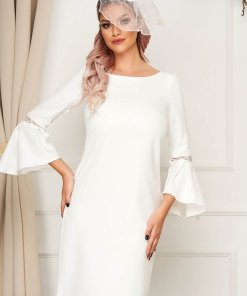 Rochie StarShinerS alba eleganta cu croi larg din stofa neelastica captusita pe interior