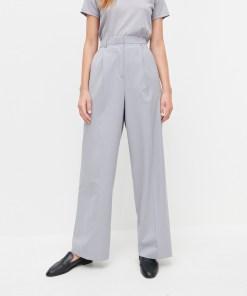 Reserved - Pantaloni clasici, cu croi larg și adaos de lână - Gri deschis