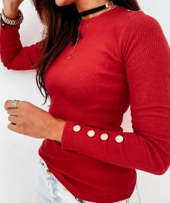Bluza dama basic rosie reiata simpla cu nasturi la mansete