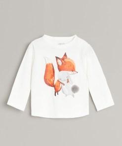 Reserved - Tricou din bumbac cu inscripție - Ivory