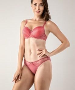 Set sutien si chilot roz cu dantela - cod 91F
