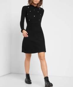 Rochie în cloș din tricot Negru