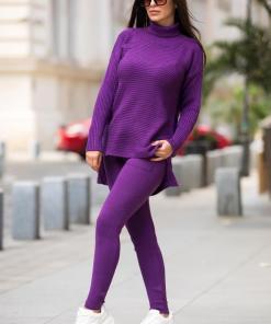 Trening dama din tricot mov cu bluza pe gat si model impletit