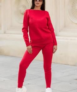 Trening dama ieftin lung din tricot rosu cu imprimeu 3D MM