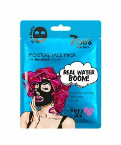 Masca de fata hidratanta 7 Days Cosmetics Total Black Real Water Boom! cu complex Aquaxyl, 25 g