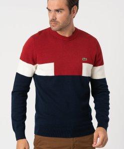 Pulover din amestec de lana cu aspect colorblock 3176835