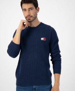 Pulover tricotat din amestec de lana cu logo 3086377