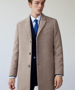 Palton din amestec de lana cu revere decupate Hake 2970824
