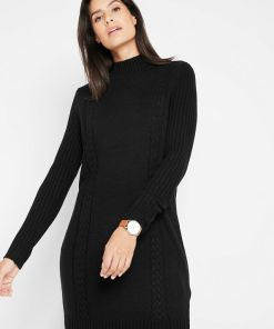 Rochie tricotată cu guler rulat - negru