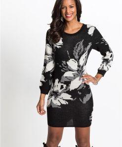 Rochie tricotată cu model floral - negru