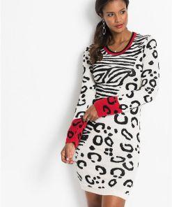 Rochie tricotată cu model leo - alb