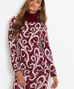 Rochie tricotată, guler rulat - roșu