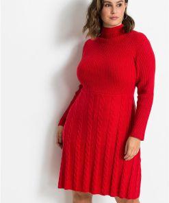 Rochie tricotată în coame - roșu