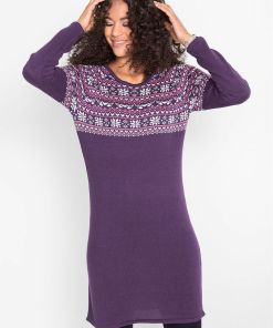 Rochie tricotată jacquard - mov