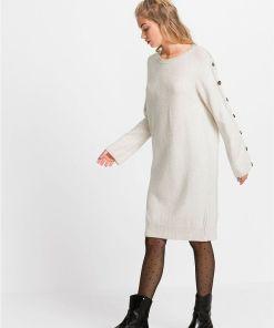 Rochie tricotată, nasturi imitație con - bej