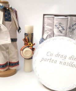Set Traditional Botez Baiat - Costumas + Trusou + Cutie + Lumanare 3
