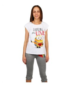 Pijama dama Minions Looking for Love tricou alb si pantaloni gri