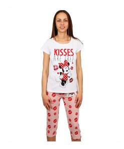 Pijama dama Minnie Mouse Kisses are Free alba cu roz
