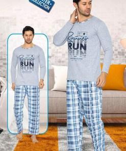 Pijama vatuita gri Run - cod 40860