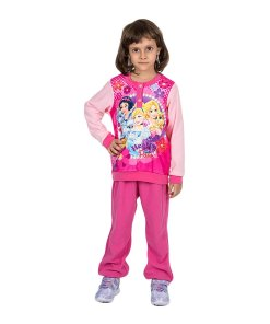 Pijama fete Printesele Disney Hearts and Paws roz cu fucsia