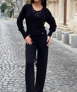 Compleu negru dama tricotat cu bluza petrecuta si pantalon evazat (Selecteaza Marime: Universala)