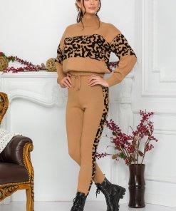Compleu Sandra din tricot bej cu negru