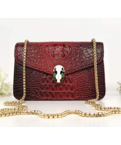Geantă roșie piele eco cu imprimeu croco Soraya
