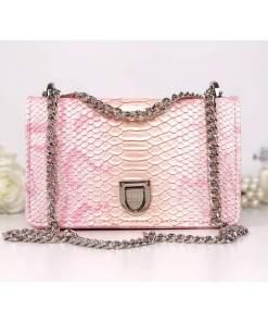 Geantă roz piele eco cu print snake fuchsia Charlotte
