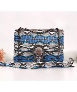 Geantă small maro piele eco cu print snake alb și albastru Aliza